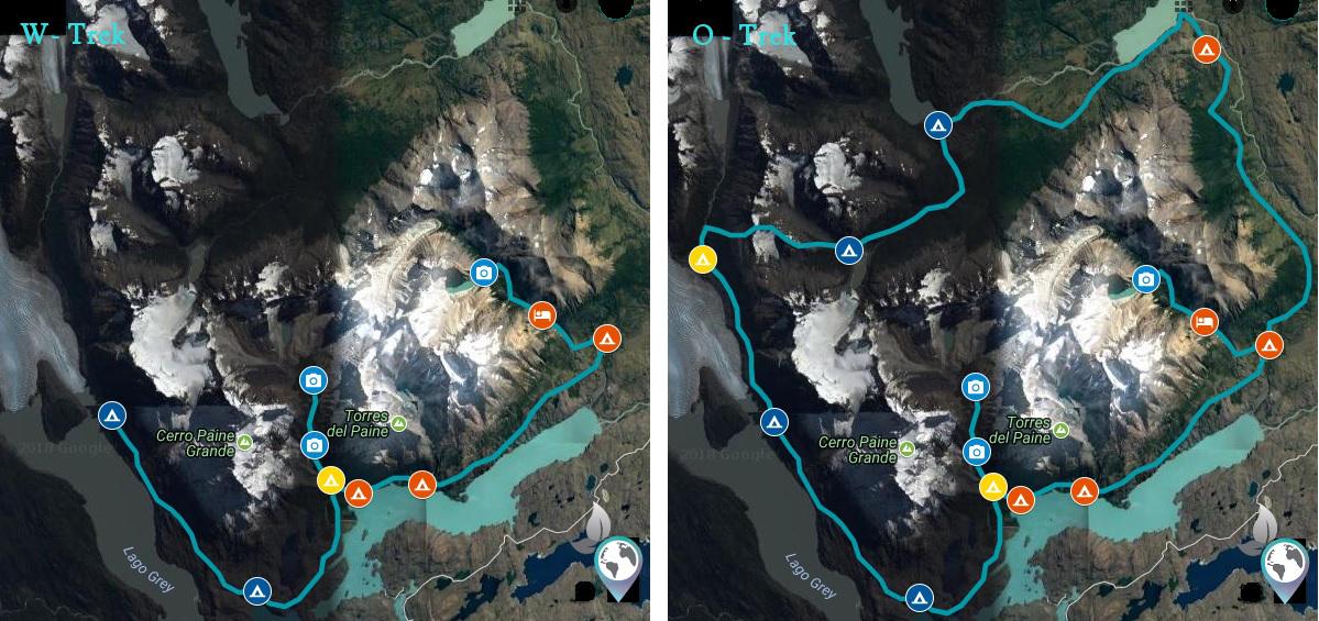 Die Strecken der beliebtesten Treks, O-Trek, W-Trek, Torres del Paine